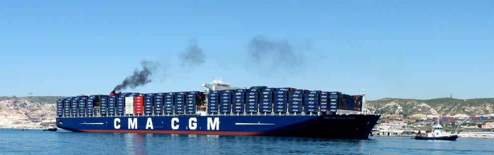 Le porte conteneurs g ant de la cma cgm le jules verne - Le plus grand porte conteneur du monde au havre ...